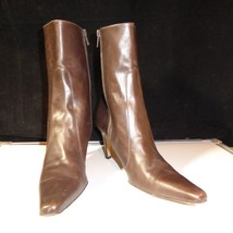 "COLE HAAN City Women's 9 AA Brown Leather 3"" High Heel Ankle Boots Made ... - $29.65"