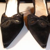 "Stuart Weitzman black satin 4"" high heel Slingback Pointed Toe 9 N Narro... - $34.60"