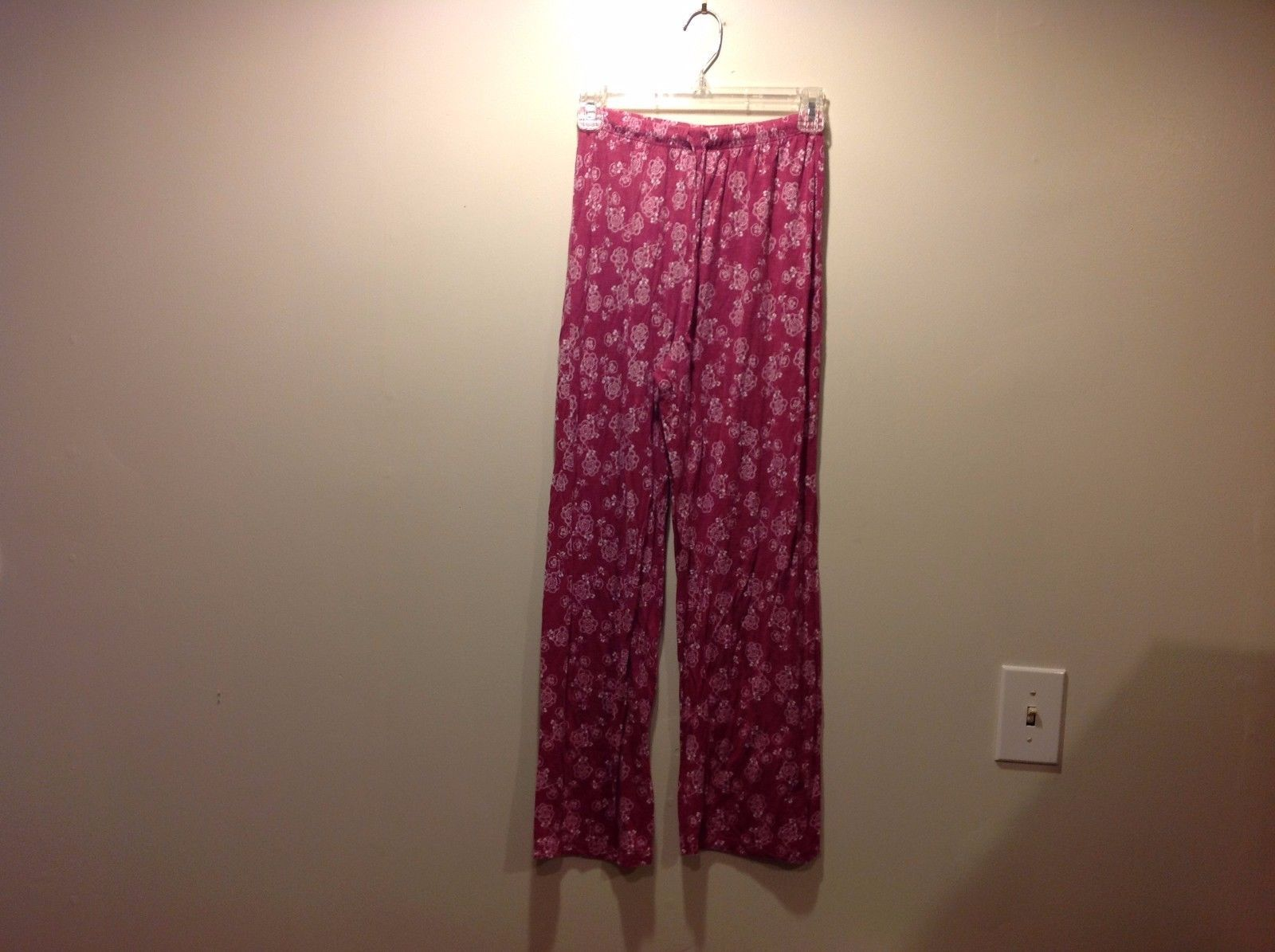 Jockey Magenta PJ Pants w White Floral Pattern Sz SP