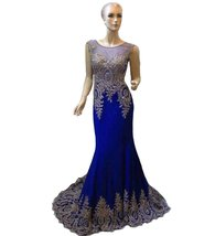 Lemai Sheer Scoop Neckline Crystals Gold Lace Formal Spandex Prom Evening Dre... - $126.99