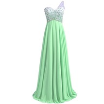 Lemai Sheer One Shoulder Crystals Backless Long A Line Formal Prom Evening Dr... - $119.99