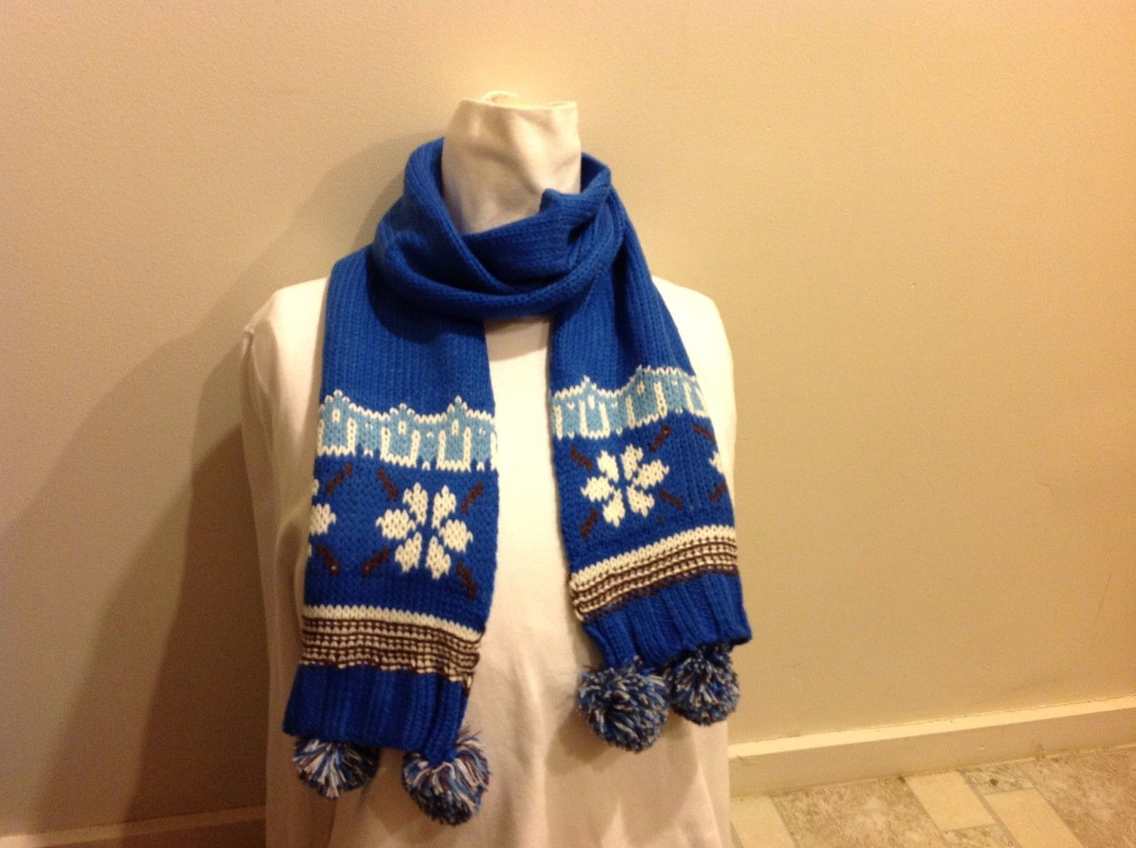Cute Blue Winter Scarf w Snowflake Pattern on Ends and Pom Poms