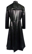 Matrix Neo Cotton Coat Keanu Reeves Black Leather Trench Gothic Jacket image 3