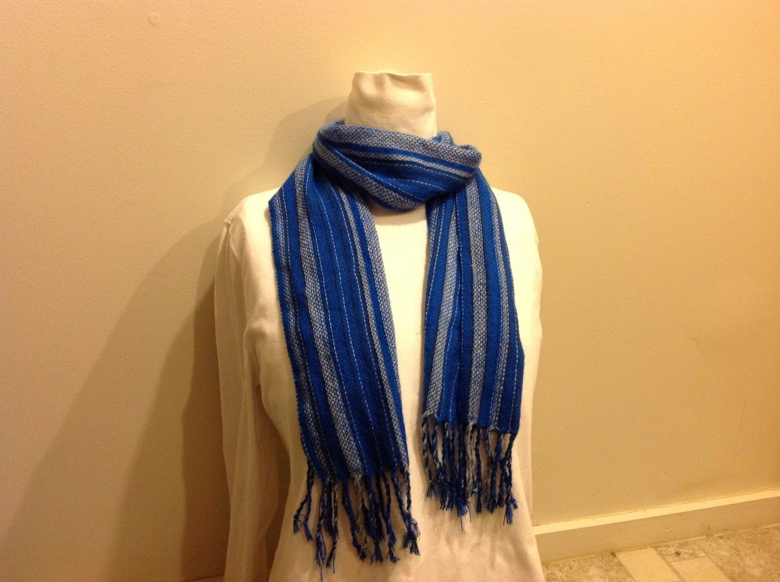 Vertical Blue Striped Knit Scarf w Fringed and Braided Ends
