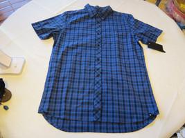 Hurley M Eli SS Woven Mens surf skate button up shirt 4EX blues plaid  NEW - $69.28