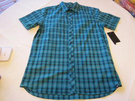 Hurley M Eli SS Woven Mens surf skate button up shirt 3JQ blues Green NEW - $69.28
