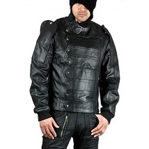 Leather Skin Men Black Military Motorcycle Biker Real Genuine Leather Jacket - $179.99