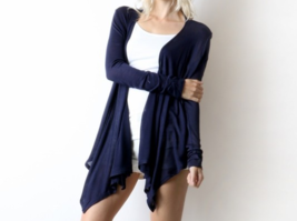 Navy Waterfall Cardigan, Open Front Lightweight Rayon Layering Sweater