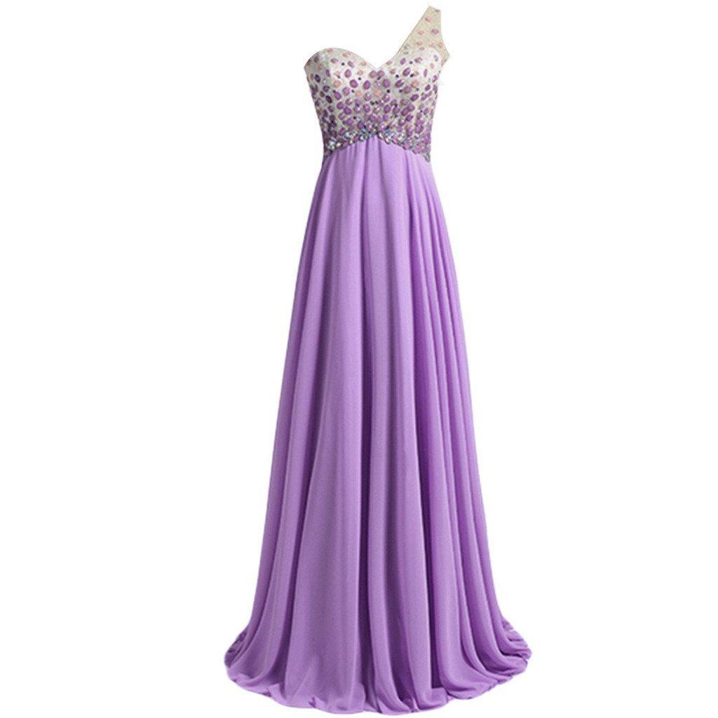 Lemai Sheer One Shoulder Crystals Backless Long A Line Formal Prom Evening Dr... - $129.99