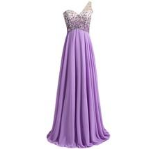 Lemai Sheer One Shoulder Crystals Backless Long A Line Formal Prom Eveni... - $129.99