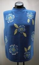 Talbots Blue/Green/White Floral Sequin Cotton Blend Sleeveless Sweater-Women's L - $15.15