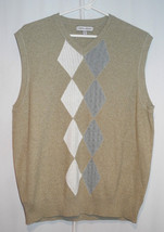 Joseph Abboud Argyle 100% Cotton Sweater Vest - Tan Grey White - Men's M - $14.20