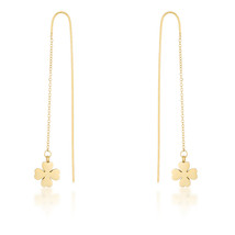 Patricia Gold Stainless Steel Clover Threaded Drop Earrings - $15.29