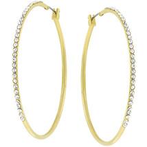 2 Inch Gold Crystal Hoop Earrings - $15.29