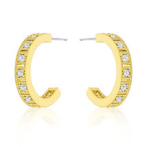 Roma Goldtone Finish Crystal Hoop Earrings - $345,47 MXN