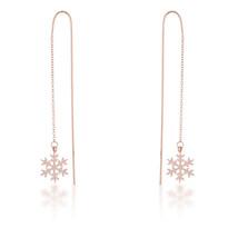Noelle Rose Gold Stainless Steel Snowflake Threaded Drop Earrings - $16.19