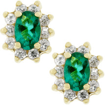 Emerald Flower Stud Earrings - $16.19