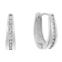 Elegant Silvertone Finish Cubic Zirconia Hoop Earrings - $16.19
