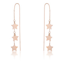 Reina Rose Gold Stainless Steel Delicate Star Threaded Drop Earrings - $17.99
