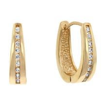 Elegant Goldtone Finish Cubic Zirconia Hoop Earrings - $17.99