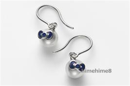 Mikomoto × Hello Kitty Akoya pearl earrings piece Blue White gold 18K FS... - $1,183.05