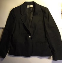 Women's Black Wool EVAN PICONE PETITE 1 Button Fully Lined blazer jacket... - $8.99