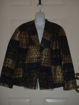 Chicos Black Gold Squares Pattern Long Sleeve Jacket Size 3 16-18 - $36.21