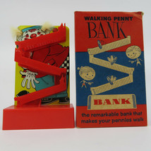Vintage Clown Walking Penny Bank, Tigrett Tin Litho, w/Original Box, 1960s - $54.95