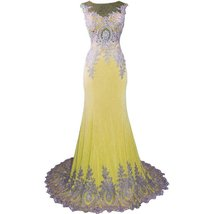Lemai Spandex Jersey Mermaid Long Sheer Gold Crystals Lace Formal Prom E... - $116.99