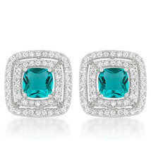 Aqua Halo Stud Earrings - $21.59