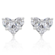 White Cubic Zirconia Heart Stud Earrings - $19.79