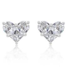 White Cubic Zirconia Heart Stud Earrings - $19.79