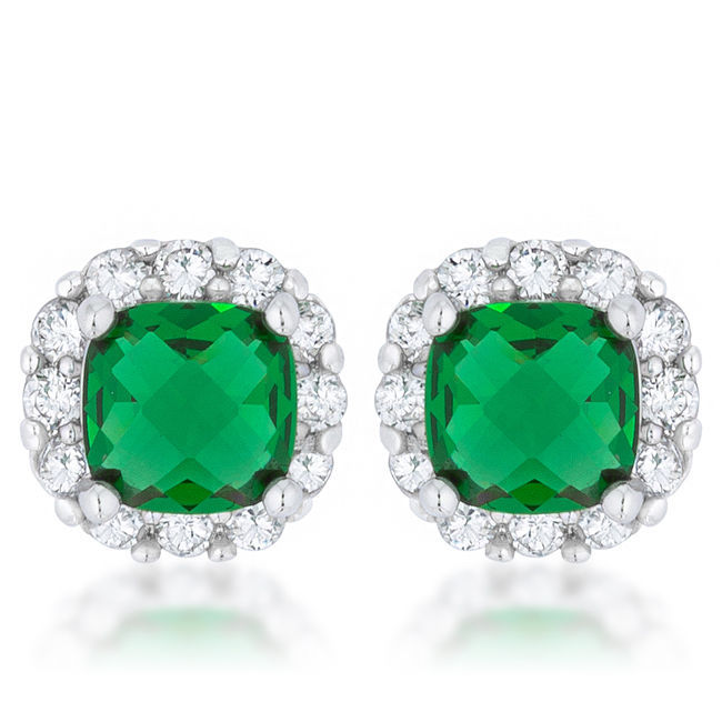 Liz 2ct Emerald CZ White Gold White Gold Classic Cushion Stud Earrings