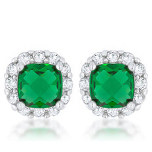 Liz 2ct Emerald CZ White Gold White Gold Classic Cushion Stud Earrings - $20.69
