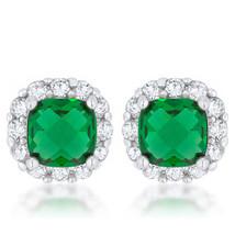 Liz 2ct Emerald CZ White Gold White Gold Classic Cushion Stud Earrings - $20.69