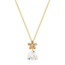 Goldtone Trillion Floral Pendant - $19.79