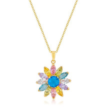 Goldtone Colorful Flower Pendant - $27.89