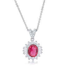 Chrisalee 3.2ct Ruby CZ White Gold Classic Drop Necklace - $19.79