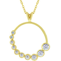 Golden Graduated Cubic Zirconia Circle Pendant - $19.79