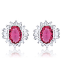 Chrisalee 3.3ct Ruby CZ White Gold White Gold Classic Stud Earrings - $18.89