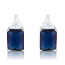 Classic Sapphire Cubic Zirconia Sterling Silver Stud Earrings - $32.39
