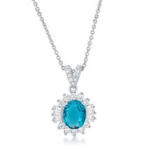 Chrisalee 3.2ct Aqua CZ Classic Drop Necklace - $19.79