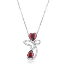 Clarise 3.2ct Garnet CZ White Gold White Gold Abstract Heart Drop Necklace - $20.69