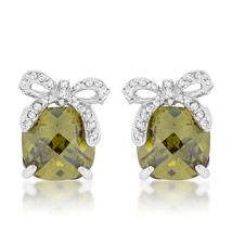 Olivine Drop Earrings with Bow - $27.89
