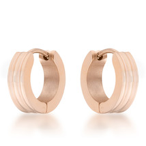 Marlene Rose Gold Stainless Steel Small Hoop Earrings - $12.59