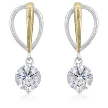 Two-tone Finish Cubic Zirconia Drop Earrings - $18.89