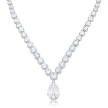 Bejeweled Cubic Zirconia Pear Drop Necklace - $89.99