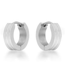 Marlene White Gold Stainless Steel Small Hoop Earrings - $10.79