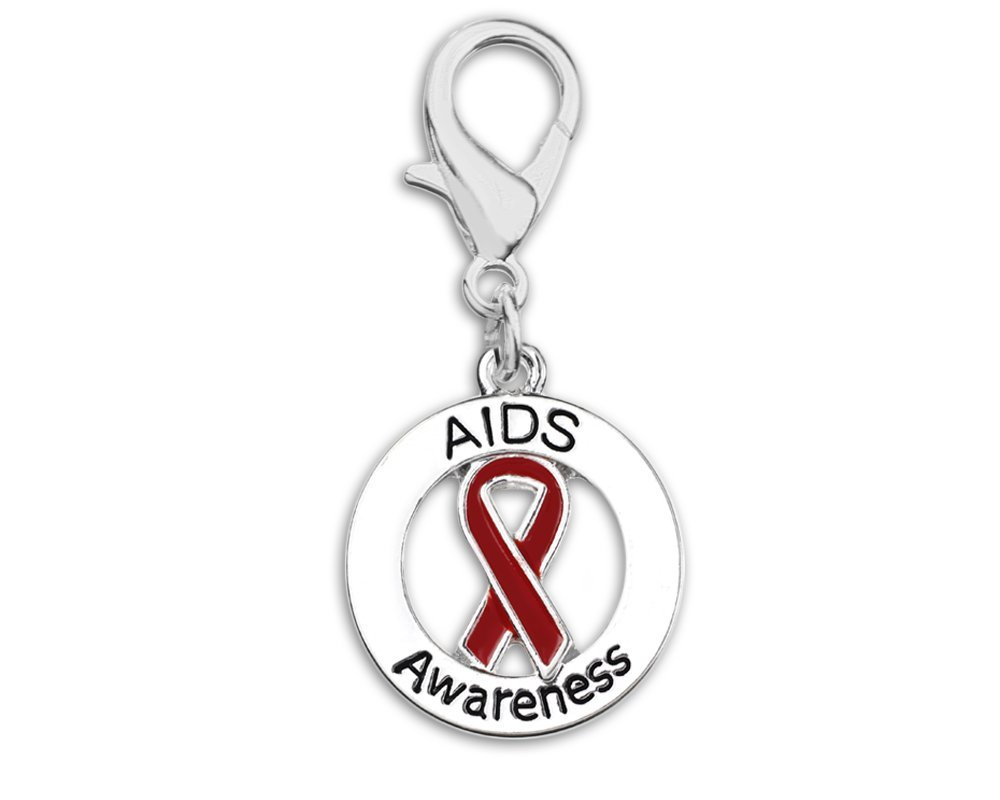 25 aids awareness ribbon hanging charms in bags