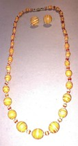 Vintage Orange Swirl Beads Silngle Strand Necklace & Screwback Earrings Set - $14.50